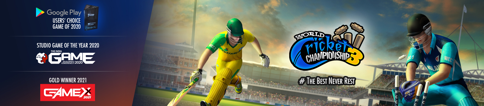 WCC3 is a sequel to the World's No. 1 mobile cricket game
